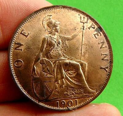 A  MINT  LUSTRED  UNC  VICTORIA  * 1901 *  PENNY  1d ......LUCIDO_8  COINS