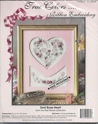 True Colors ~ Swirl Rose Heart - Ribbon Embroidery Kit With Mat