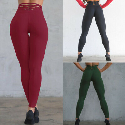 AM_ Athletic Women Solid Color Cross Strap Leggings Fitness High Waist Yoga Pant