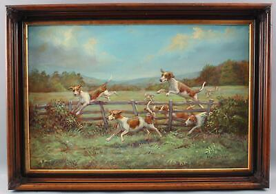 Large ANTHONY BARHAM Fox Hunting Hound Dogs Landscape Oil Painting NR