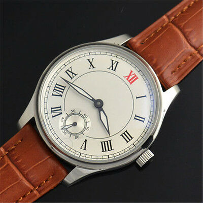 44mm Parnis Hand Winding Movement Men's Casual Watch White Dial Brown Strap