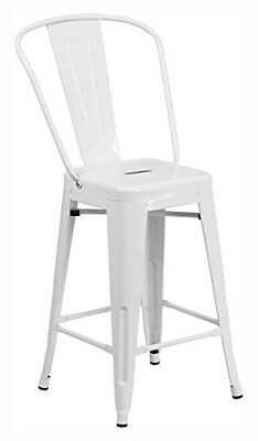 "Flash Furniture 24"" High White Metal Indoor-Outdoor Counter Height Stool NEW"