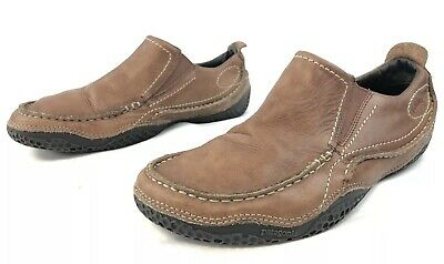 0ceda73d Patagonia Skywalk Brown Leather Loafers Casual Slip On Boat Shoes Mens 8