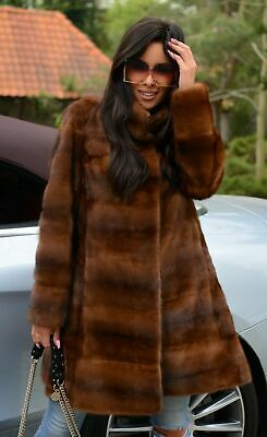 New Brown Saga Mink Fur Coat Class Sable Chinchilla Jacket Long Fox Vest Trench