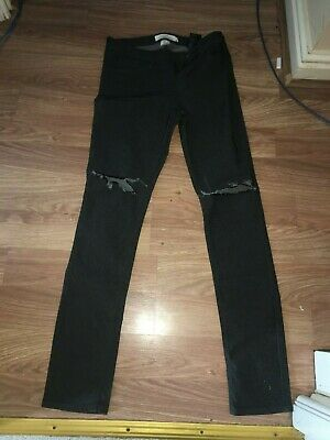 H&M Boys 14 Years Grey Distressed Cotton Blend Trousers (Ex Cond)