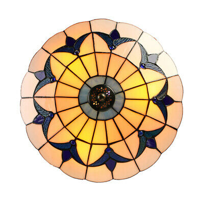 Tiffany Style Antique Stained Glass Ceiling Lighting Fixture Flush Mount Lamp