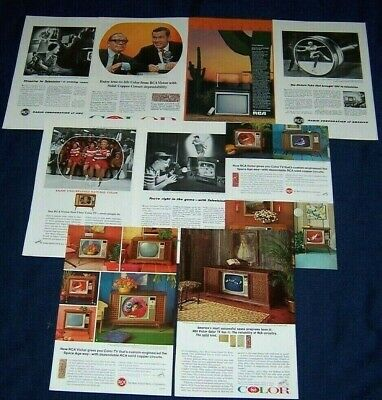 Lot of 9 RCA TV Television Ads from 1947-1983 ~ Colortrak,TV Shopping,Vista, etc