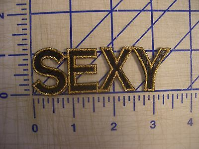 "2.5""Block Letter Word ""SEXY"" Iron On Patch Sew GlueOn Embroider Gold Metallic"