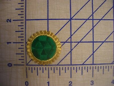 L Green Dot Metallic Gold Outline Iron On Patch Embroidery Applique EDC NPC IFB
