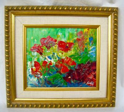 "Signed Oil painting impasto Poppies Serafin '99 Gold Frame 12"" x 13"""