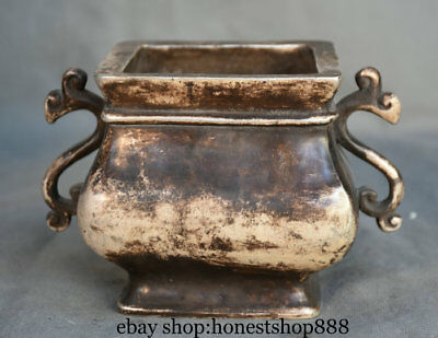 """6"""" Xuande Marked Old China Silver Dynasty Dragon Handle Incense Burner Censer X"""