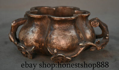"""6.8"""" Marked Old China Silver Dynasty Palace Lotus Flower Handle Incense Burners"""