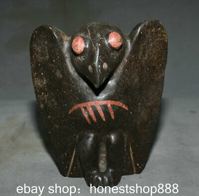 "7"" Rare Old Chinese Hongshan Culture Old Jade Carving Helios Bird Sculpture"