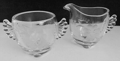 Fan Handle Cut Etched Glass Sugar Bowl & Cream Pitcher Flowers Footed Base EUC