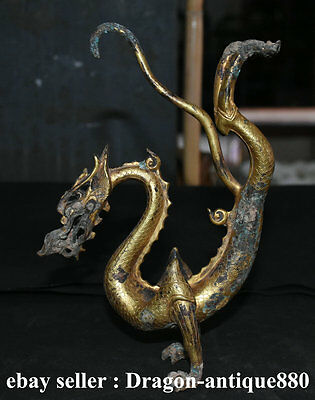 "14"" Old Chinese Royal Palace Bronze Copper 24K Gold Gild Spirit Dragon Sculpture"