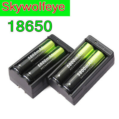Skywolfeye 4Pcs 18650 3.7V 5800mAh Rechargeable Battery Li-ion +2Pcs Charger US