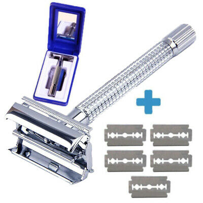 Men's Classic Traditional Double Edge Chrome Shaving Safety Razor + 5 Blades US
