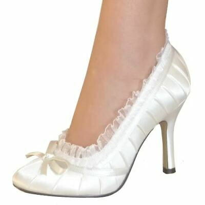 Womens Bridal Wedding Pleated Satin High Heels White Or Ivory