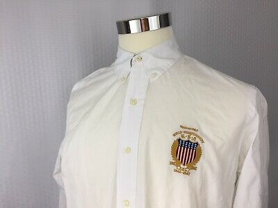 37f2896e Men's Polo Ralph Lauren Long Sleeve White Button-Down Embroidered Shirt  SIZE: L