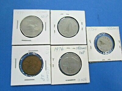 5 x  IRELAND  Coins. From 1954 to 1977