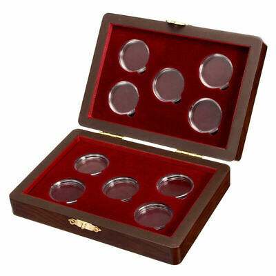 Fashion 25-30mm Coin Case Display Box Wood Storage Holders For 10 Coins Set