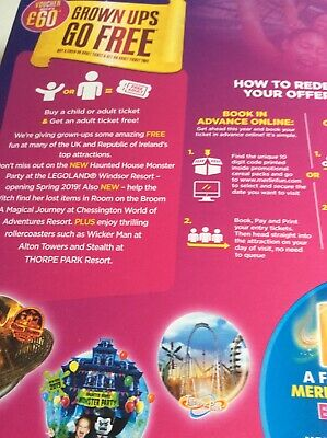 Adult Ticket Merlin Entertainment Attractions,Alton Towers, Legoland ONLINE CODE