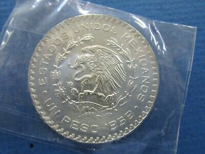Large Mexican Silver Coin 1959 Morelos  10% Silver One  Peso Unc