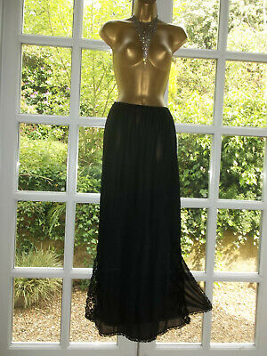 Vintage 1970s Charnos Slippery Nylon Lacy Longer Length Formal Half Slip M