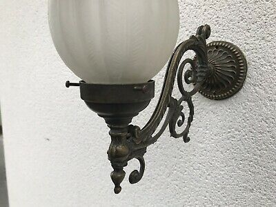 Vintage Metal Wall Lights, Traditional Ornate Antique Metal with Glass Shade