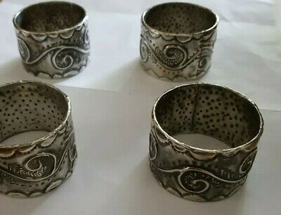 Vintage Pewter Arts & Crafts 4 Napkin Ring hand made Repoussé work