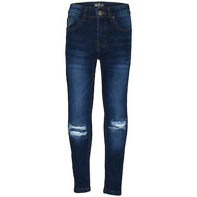 Kids Boys Skinny Jeans Dark Blue Denim Knee Ripped Stretchy Bikers Pants Trouser