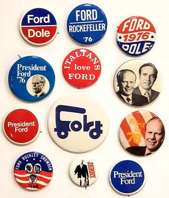 Gerald Ford Set of 12 Different Buttons & Pins