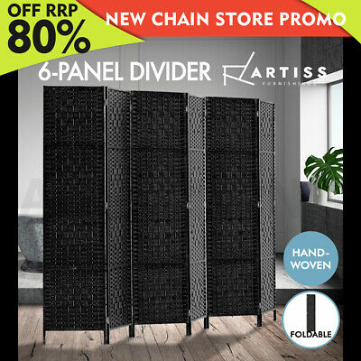 Artiss 6 Panel Room Divider Privacy Screen Rattan Timber Dividers Woven Stand