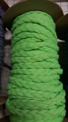 Lime Glows 3-Strand Braid Non-Stretch Rouleau Noodle Spaghetti Hollow Tube Strap