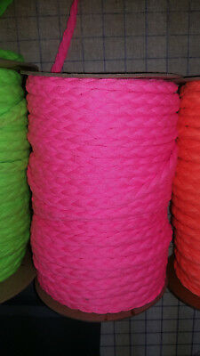 Hot Pink 3-Strand Braid Non-Stretch Rouleau Noodle Spaghetti Hollow Tube Strap