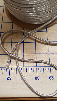 2Yd Silver NON Stretch Polyester Mylar Rouleau Noodle Spaghetti Fill Cotton Cord