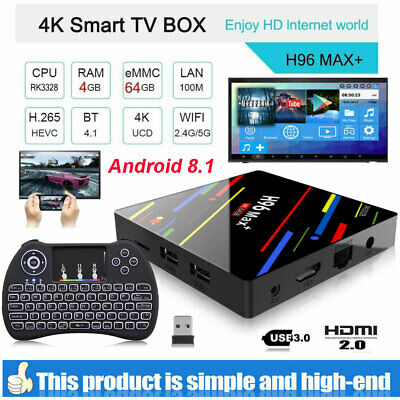 H96 Max+ Android 8.1 4K HDR Tv Box Résea RK3328 4Go 64Go 2.4&5G WiFi Multimédia