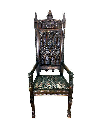 Impressive French Gothic Arm Chair, Lion Carvings, 19th Century, Oak