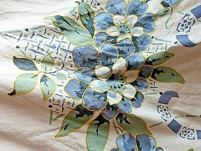 1920s/30s Art Deco Vintage Bedspread Throw Bed Cover cream blue embroidery