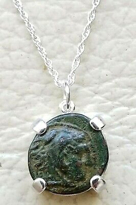 Authentic Ancient Greek Coin of Alexander The Great 925 Sterling Silver Necklace