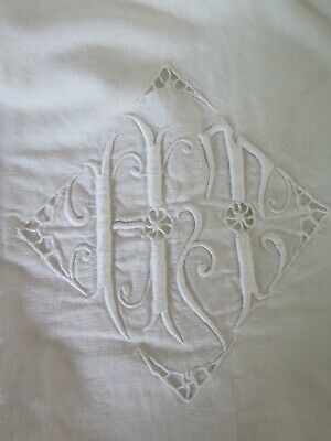 Antik Hochzeitslaken Leinen Embroidered Wedding Sheet Antique French Shabby