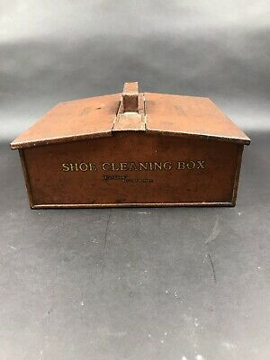 Vintage Metal Shoe Cleaning Box In A Brown Colour With Great Lettering.
