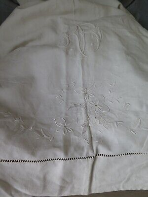 XL Hochzeitslaken Leinen Embroidered Wedding Sheet Antique French Shabby