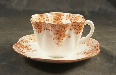 SHELLEY Dainty Orange Fine Bone China Cup and Saucer