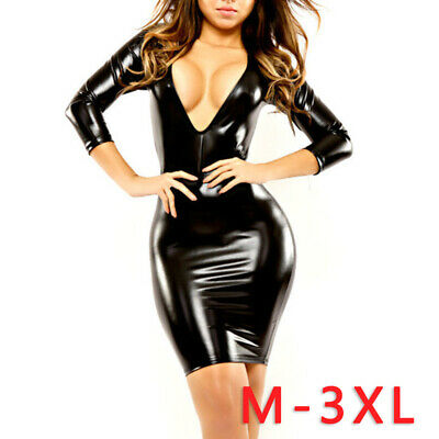Damen Lack Glanz Wetlook Kleid Bodycon Langarm V-Ausschnitt Minikleid Club Wear