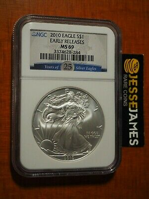 2010 $1 American Silver Eagle Ngc Ms69 Early Releases 25 Years Label