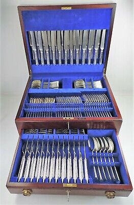 Boxed 144-piece SILVER OLD ENGLISH 12 PERSON CANTEEN, Sheffield 1990 by Garrards