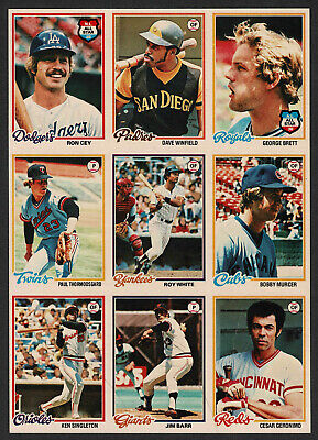 1978 OPC Uncut Production 9-Panel, Dave Winfield, George Brett, Ron Cey...