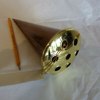 Memorial Grave Flower Cone Vase Walnut finish Gold colour holed lid elegant 21cm
