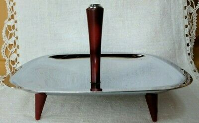 Vintage Glo Hill Gourmates Square Chrome Serving Dish Bakelite Handle Legs *